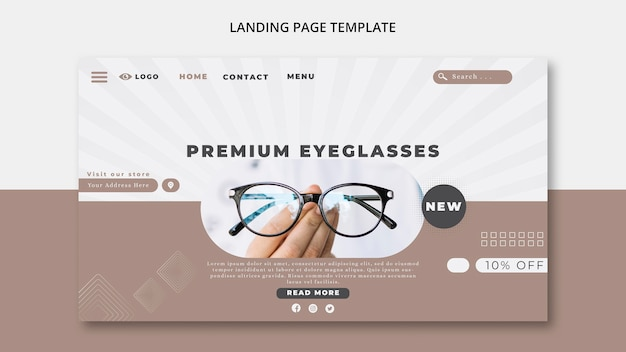 Landing page template for eye glasses company