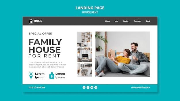 Modello di pagina di destinazione per l'affitto di una casa familiare