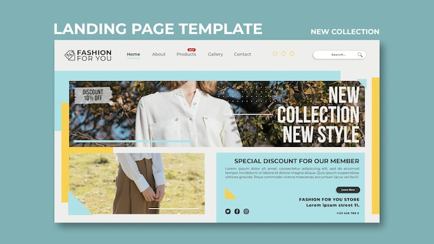 Landing page template for fashion collection with woman in nature