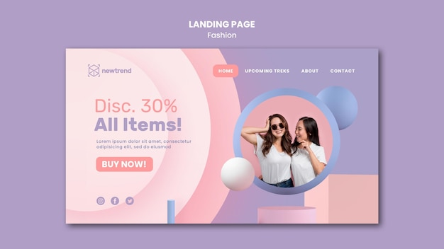 Landing page template for fashion retail store