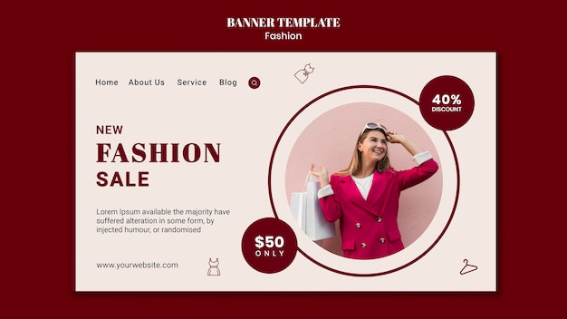 Landing page template for fashion sale with woman and shopping bags