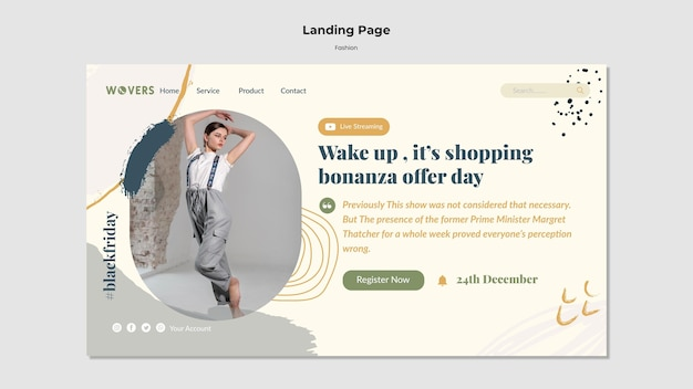 Landing page template for fashion sales