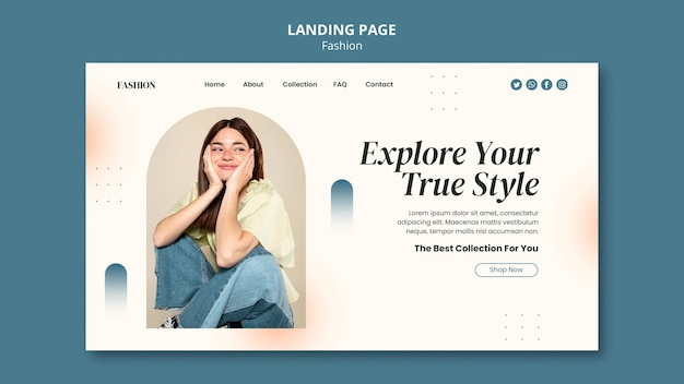 Landing page template for fashion style and clothing with woman