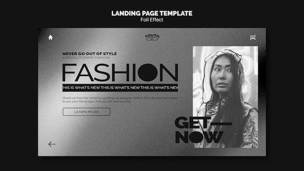 Landing page template for fashion with foil effect