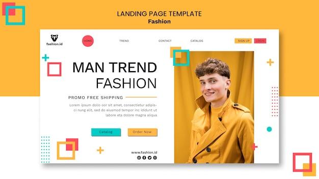 Modello di pagina di destinazione per la moda con modello maschile