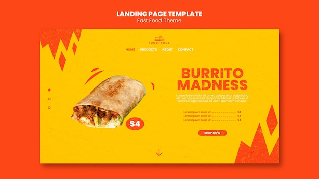 Landing page template for fast food restaurant
