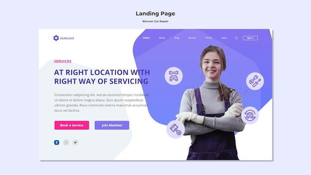 Landing page template for female auto mechanic