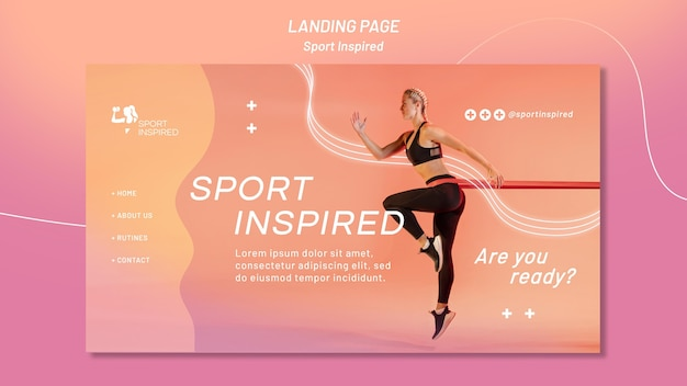 Landing page template for fitness training
