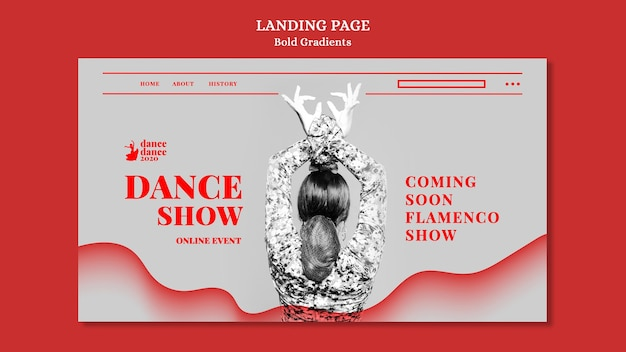 Landing page template for flamenco show with female dancer