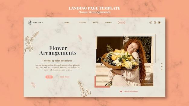 Modello di pagina di destinazione per negozio di composizioni floreali Psd Gratuite