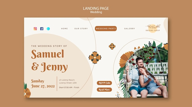 Landing page template for floral wedding with leaves and couple