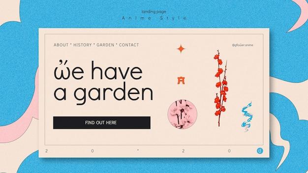 Modello di pagina di destinazione per giardino fiorito