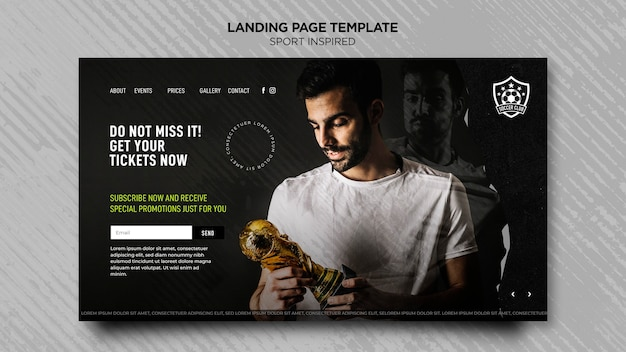 Landing page template for football club