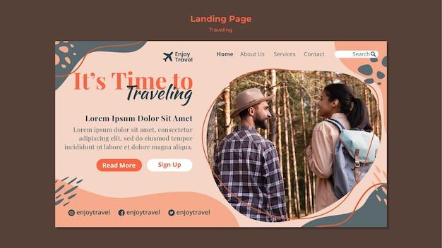 Шаблон целевой страницы для рюкзака, путешествующего с парой