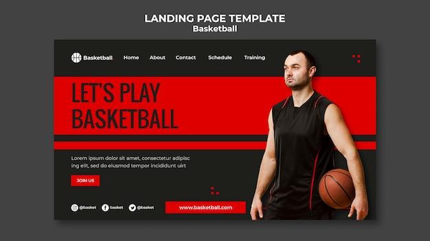 남자 선수와 농구 경기를위한 방문 페이지 템플릿