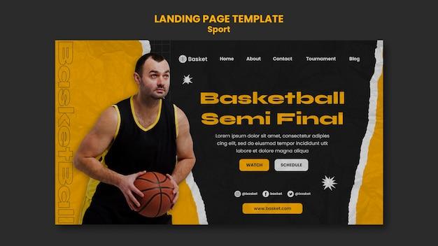 Шаблон целевой страницы для баскетбольного матча с игроком мужского пола