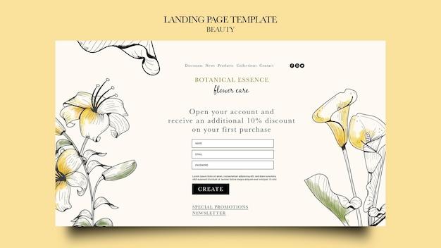 손으로 그린 꽃이 있는 미용 제품의 방문 페이지 템플릿