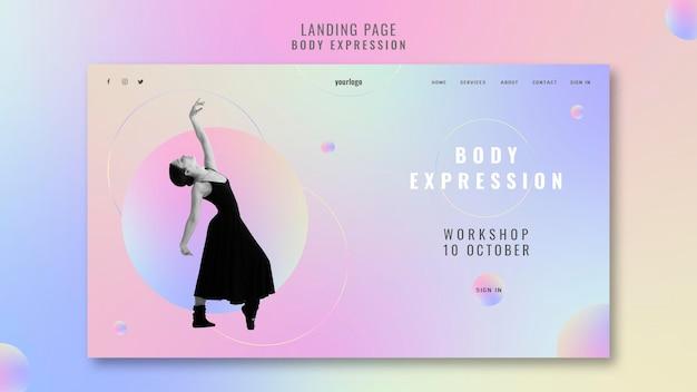 신체 표현 워크샵을위한 방문 페이지 템플릿