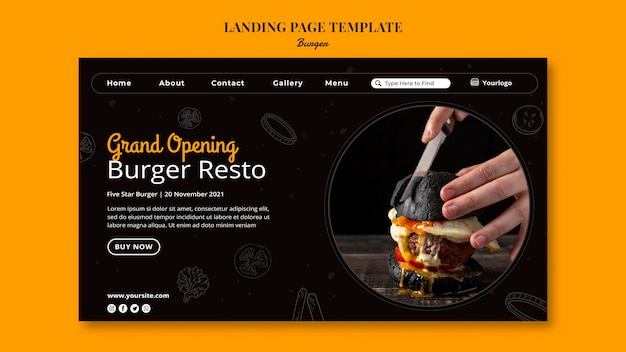 ハンバーガービストロのランディングページテンプレート