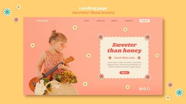 花を持つ子供のためのランディングページテンプレート