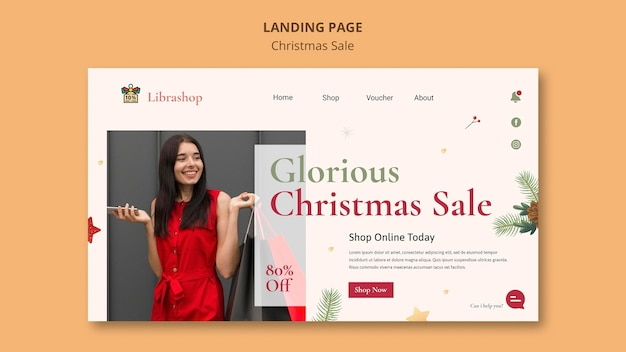 크리스마스 판매를위한 방문 페이지 템플릿