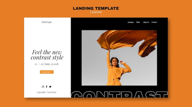 対照的なスタイルのランディングページテンプレート