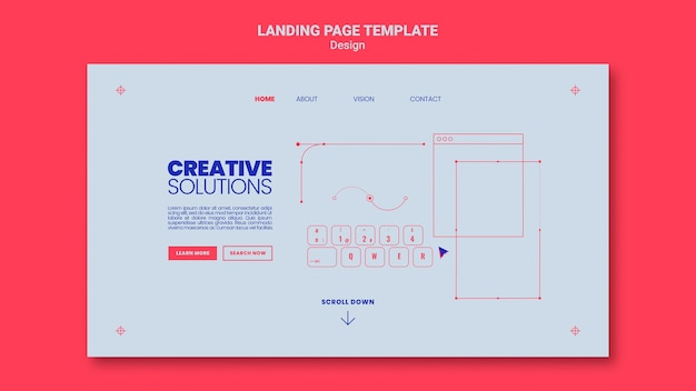창의적인 비즈니스 솔루션을위한 랜딩 페이지 템플릿