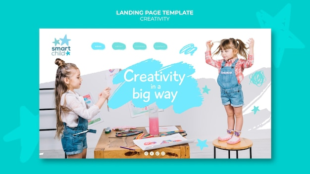 재미있는 창의적인 아이들을위한 방문 페이지 템플릿