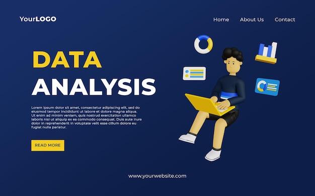 Шаблон целевой страницы для анализа данных с трехмерным персонажем мультфильма мужского пола использует ноутбук psd