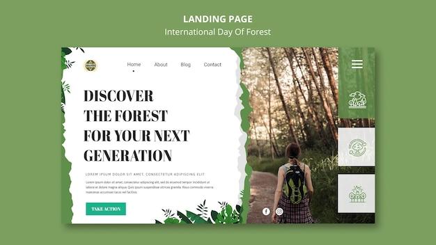Шаблон целевой страницы для дня леса с природой