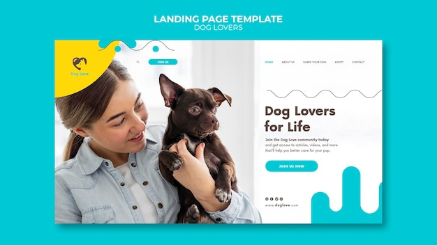 Шаблон целевой страницы для любителей собак с владельцем женского пола