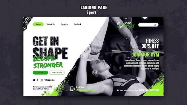 운동 및 체육관 훈련을 위한 방문 페이지 템플릿