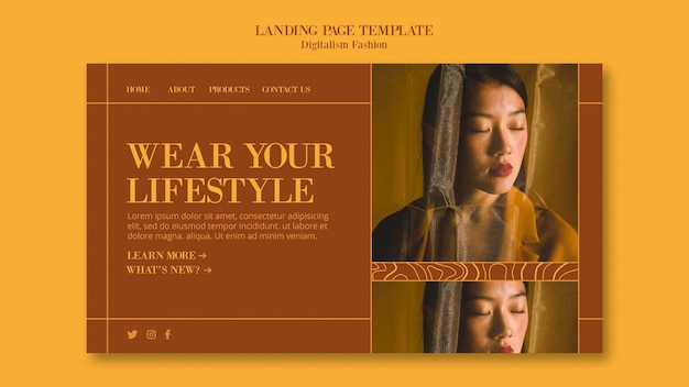 Шаблон целевой страницы для модного образа жизни