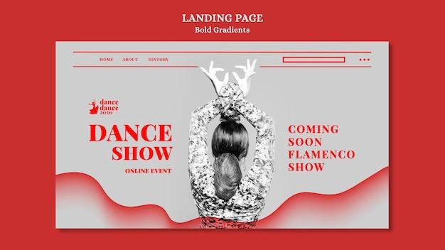 여성 댄서와 플라멩코 쇼를위한 방문 페이지 템플릿