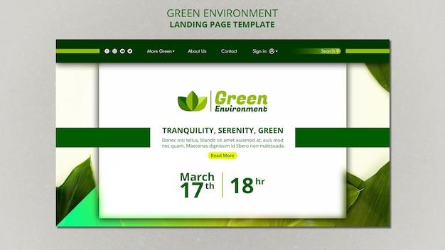 緑の環境のランディングページテンプレート