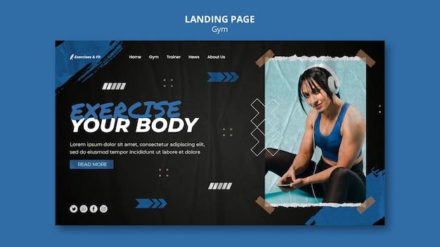 여성 운동선수가 있는 체육관 방문 페이지 템플릿