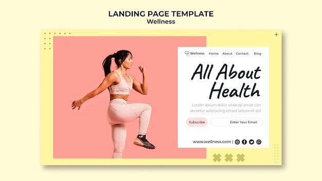 여성이 피트니스를하고 건강과 웰빙을위한 방문 페이지 템플릿