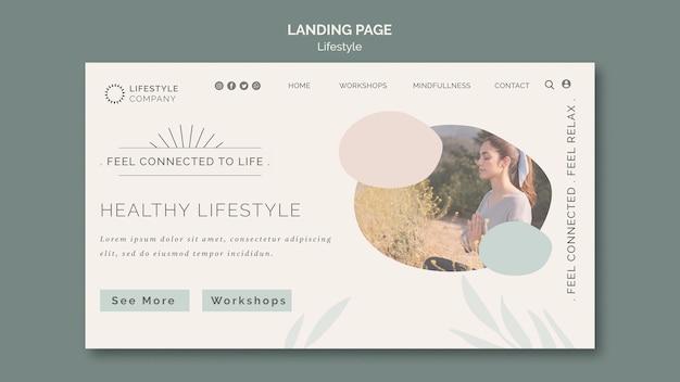 건강한 라이프 스타일 회사를위한 방문 페이지 템플릿 프리미엄 PSD 파일