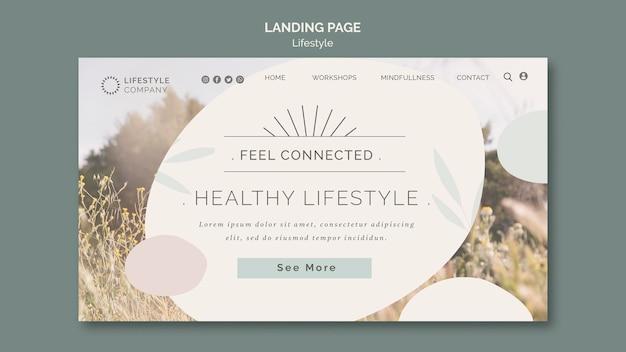 건강한 라이프 스타일 회사를위한 방문 페이지 템플릿 무료 PSD 파일