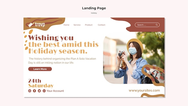 의료 마스크를 쓴 사람과 함께 휴가 여행을 위한 방문 페이지 템플릿