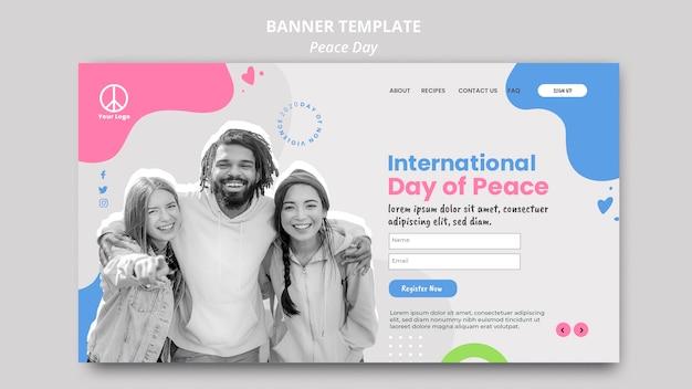 国際平和デーのお祝いのランディングページテンプレート