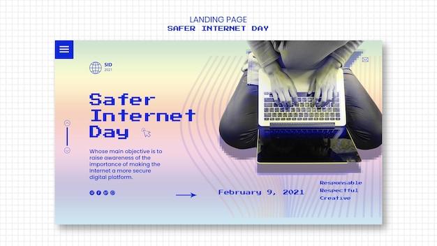 인터넷 안전한 날 인식을위한 방문 페이지 템플릿