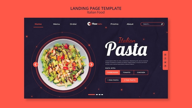 이탈리아 음식 레스토랑의 방문 페이지 템플릿