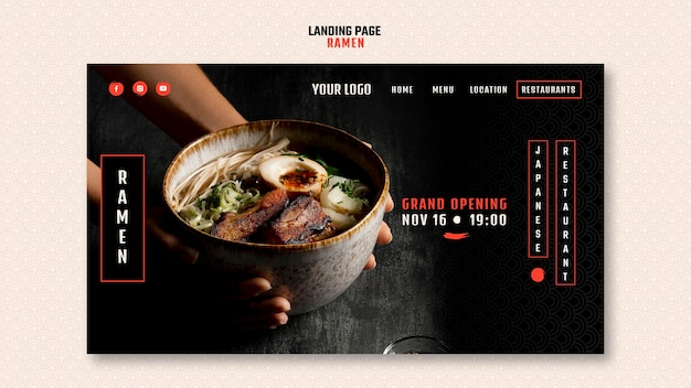 日本のラーメンレストランのランディングページテンプレート