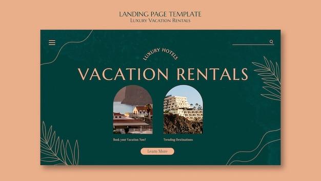 고급 휴가용 임대를 위한 방문 페이지 템플릿
