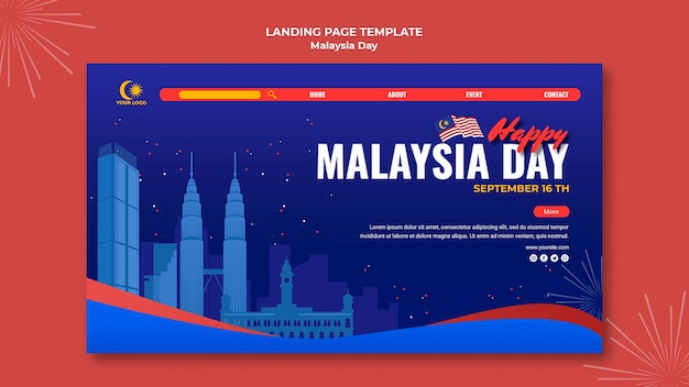 Шаблон целевой страницы для празднования дня малайзии