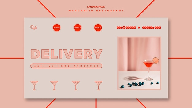 마가리타 칵테일 음료의 방문 페이지 템플릿
