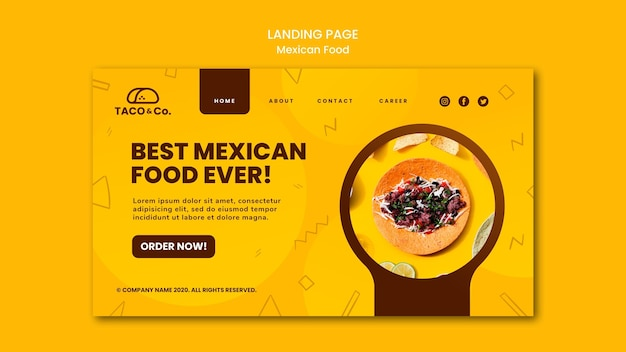 Шаблон целевой страницы для мексиканского ресторана