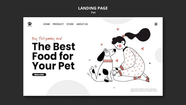 Шаблон целевой страницы для национального дня домашних животных с владельцем и домашним животным