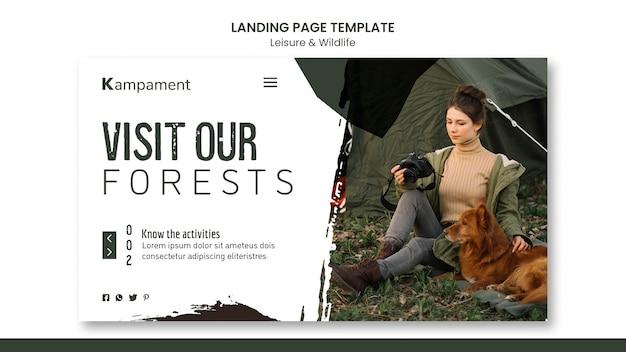 自然探検とレジャーのためのランディングページテンプレート